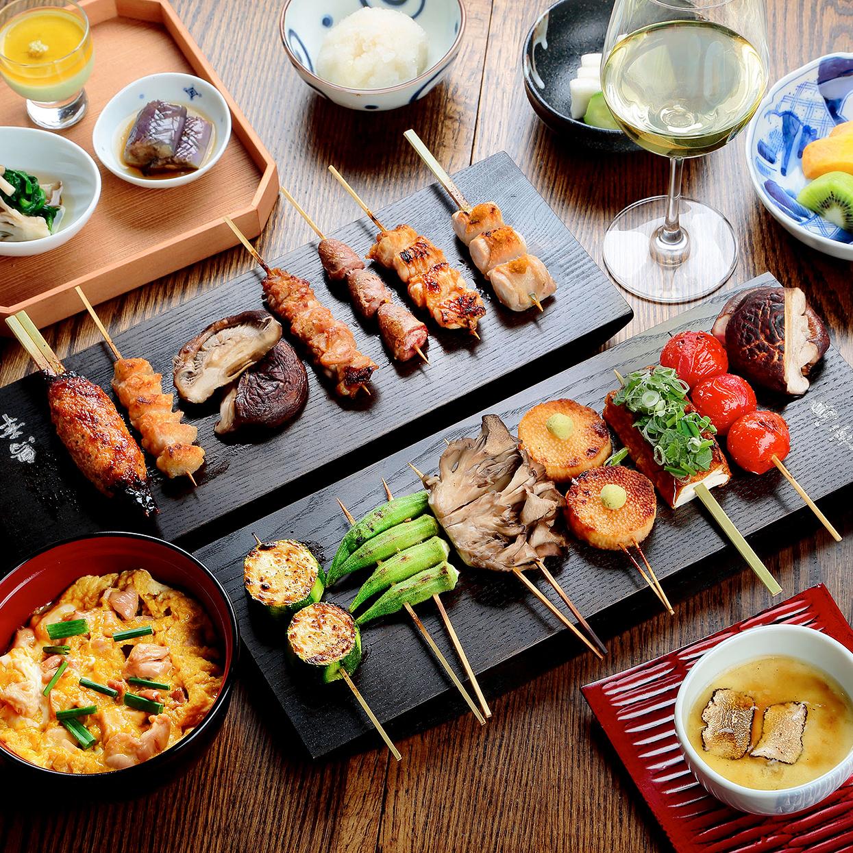 Toriko NY spread with kushiyaki skewers