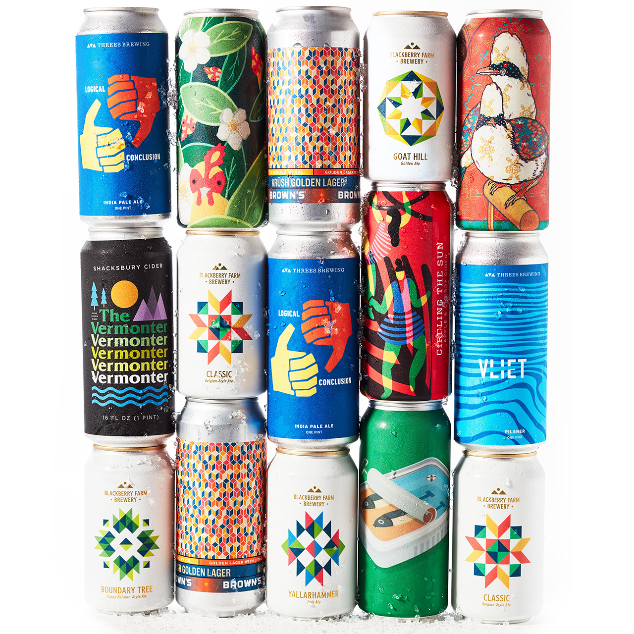 Stacked cans of beer