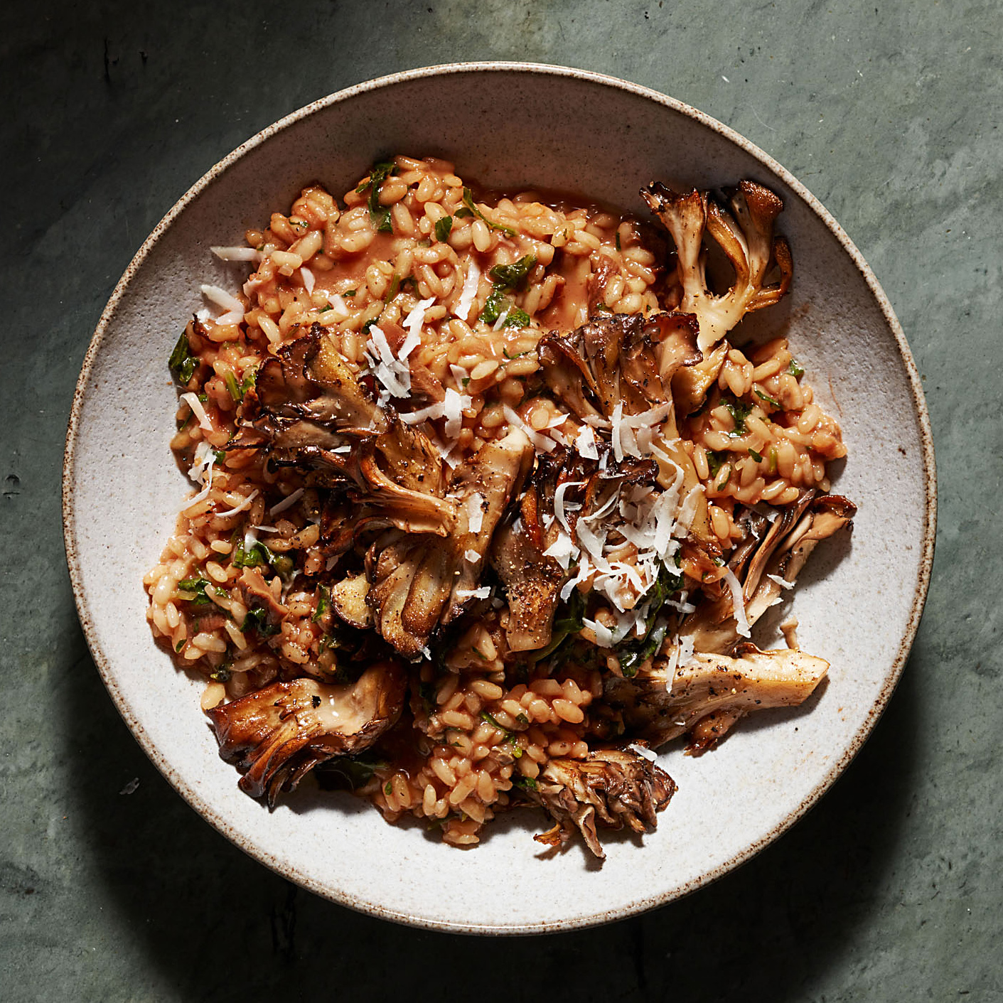 Red Wine Risotto with Kale & Mushrooms