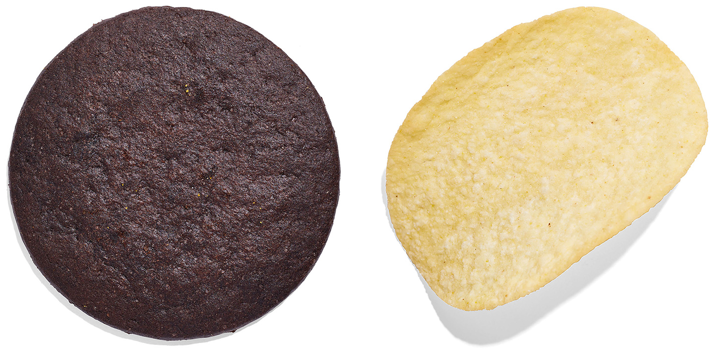 chocolate wafer and Pringle chip