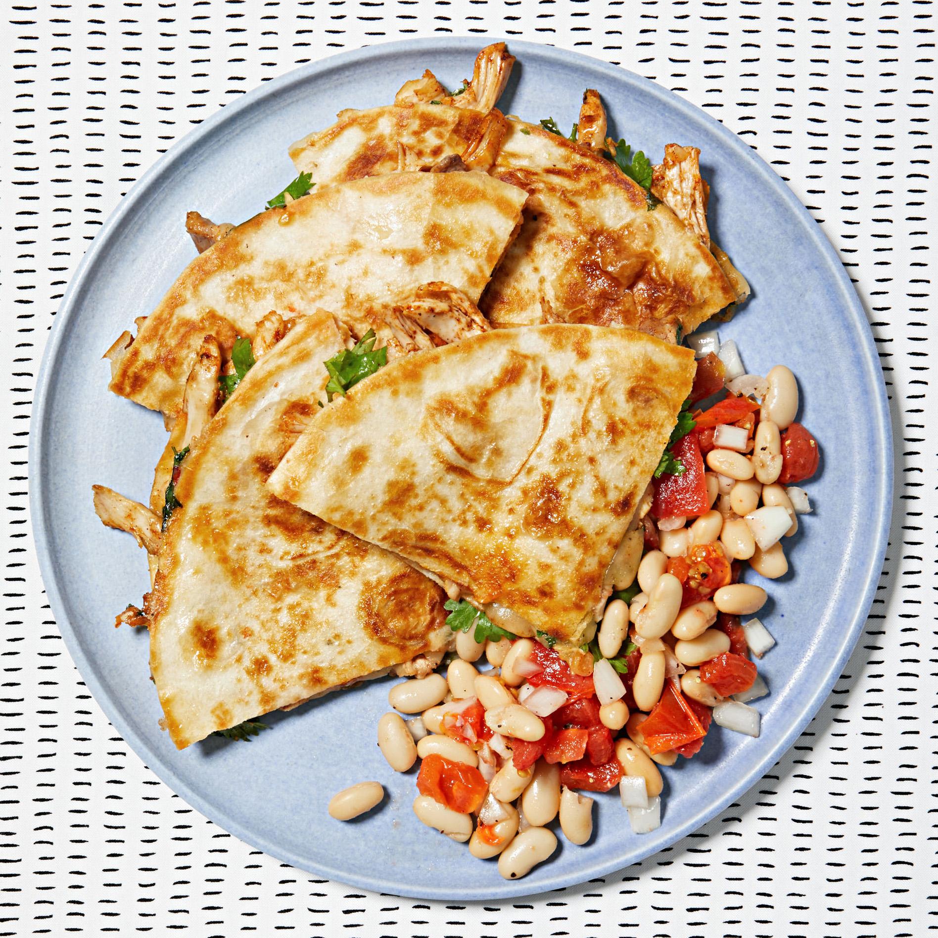 chicken quesadillas white bean salad