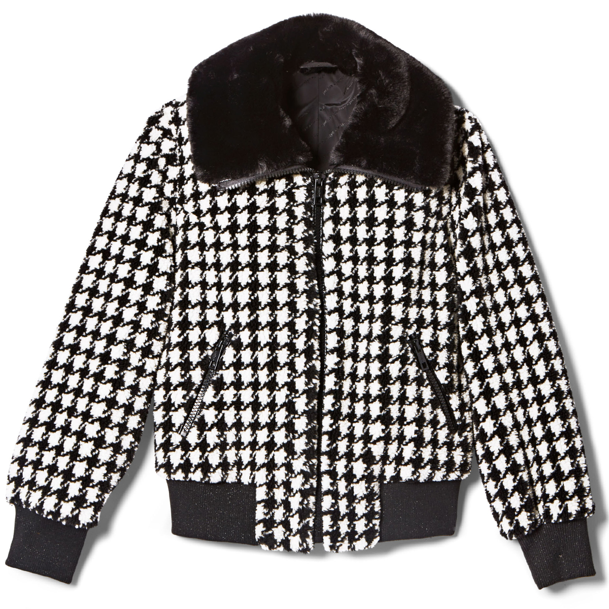 Jocelyn Faux Teddy Bomber with Black Collar and Pockets