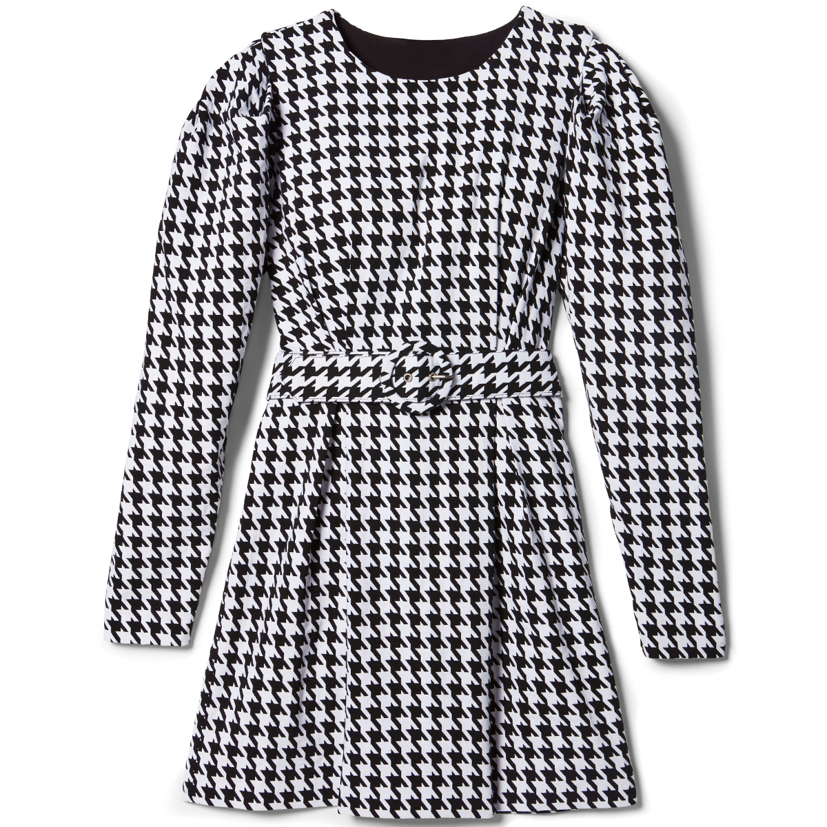 Riley Puff-Sleeve Houndstooth Dress by LINI