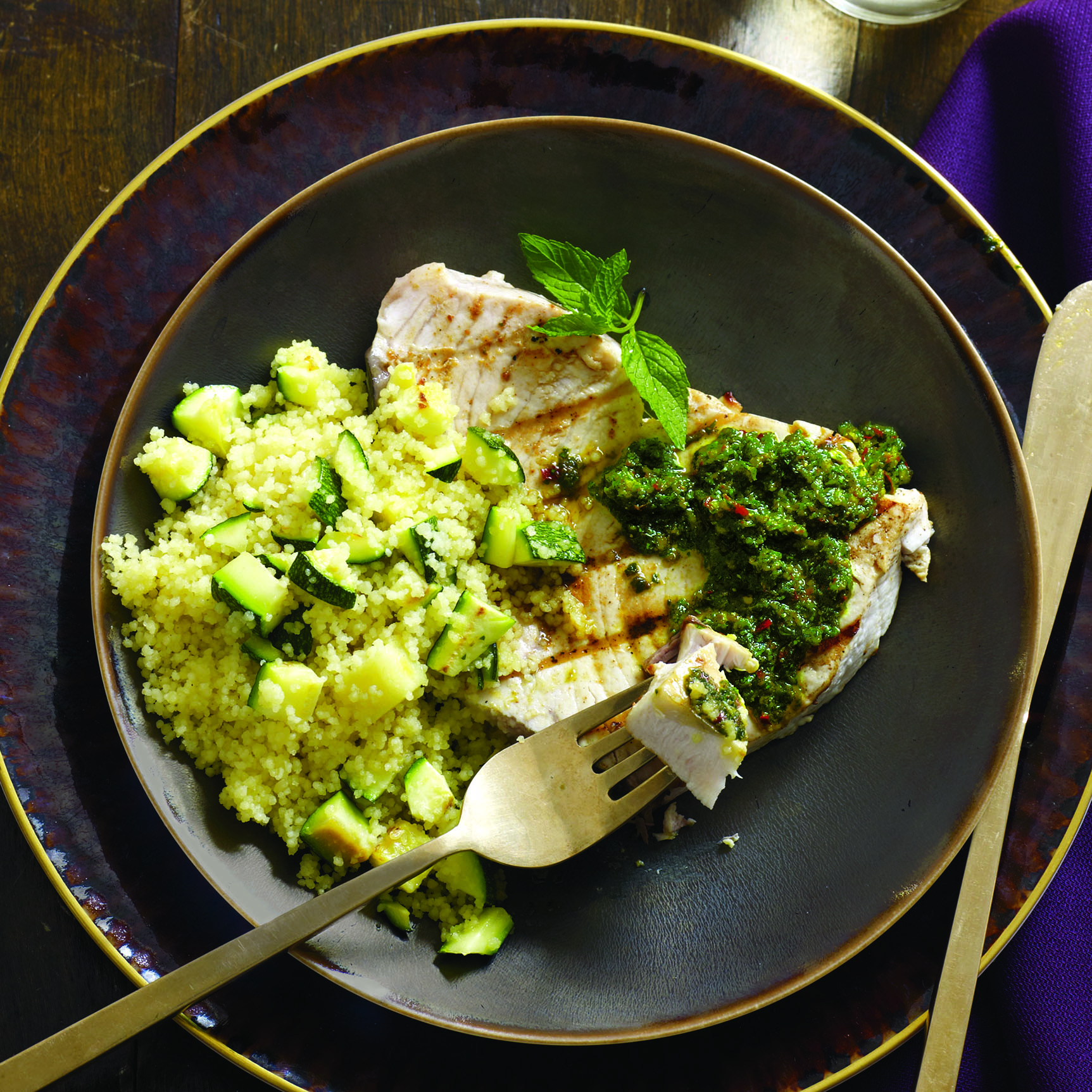 Grilled Fish with Moroccan Chermoula Sauce & Zucchini Couscous