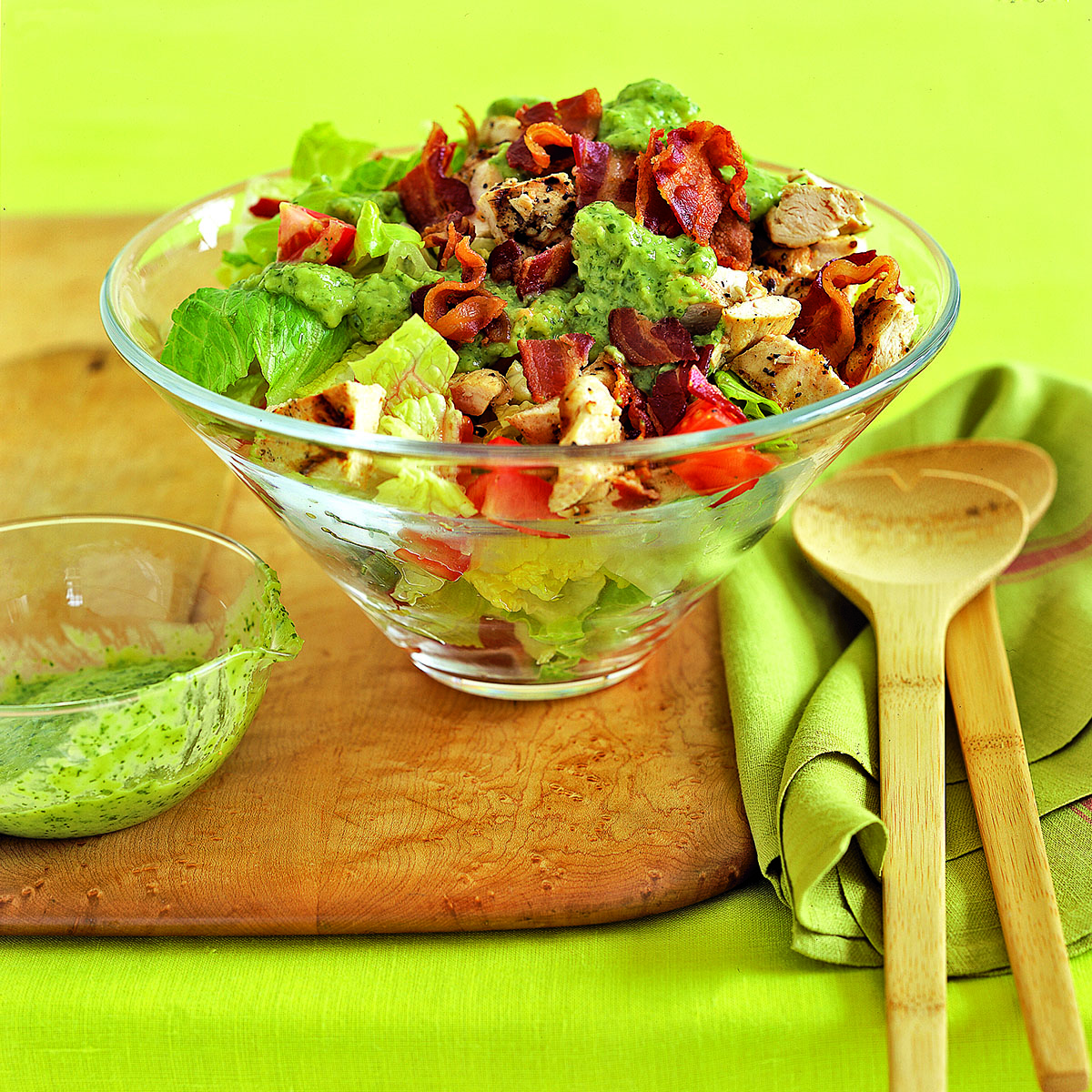 Grilled Chicken Club Salad with Guacamole Dressing