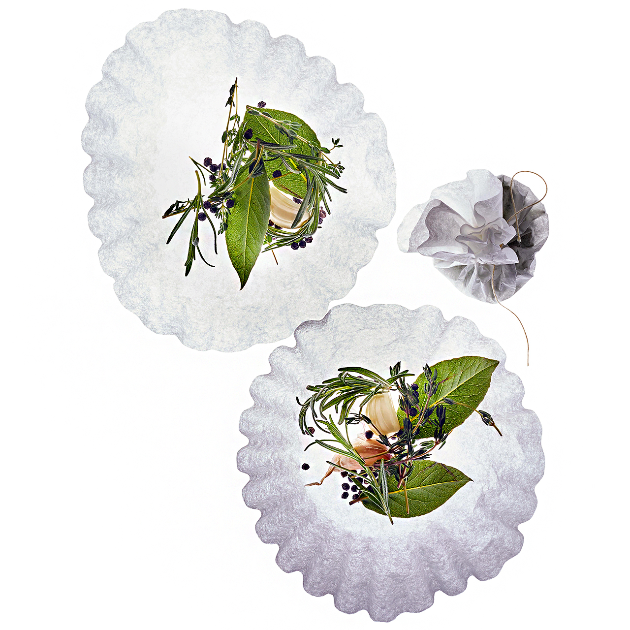 Coffee filters with herbs