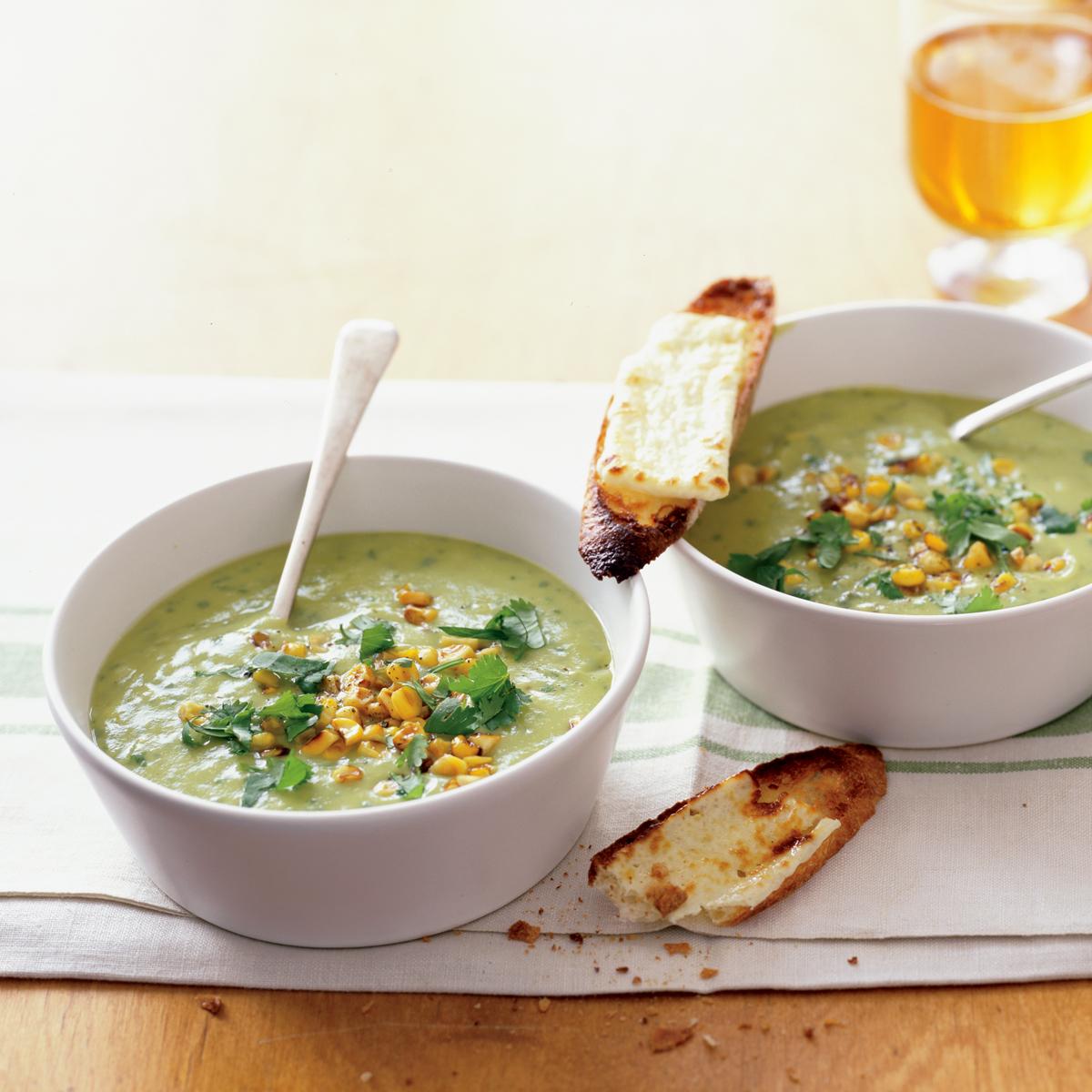 corn avocado soup with cheesy toasts