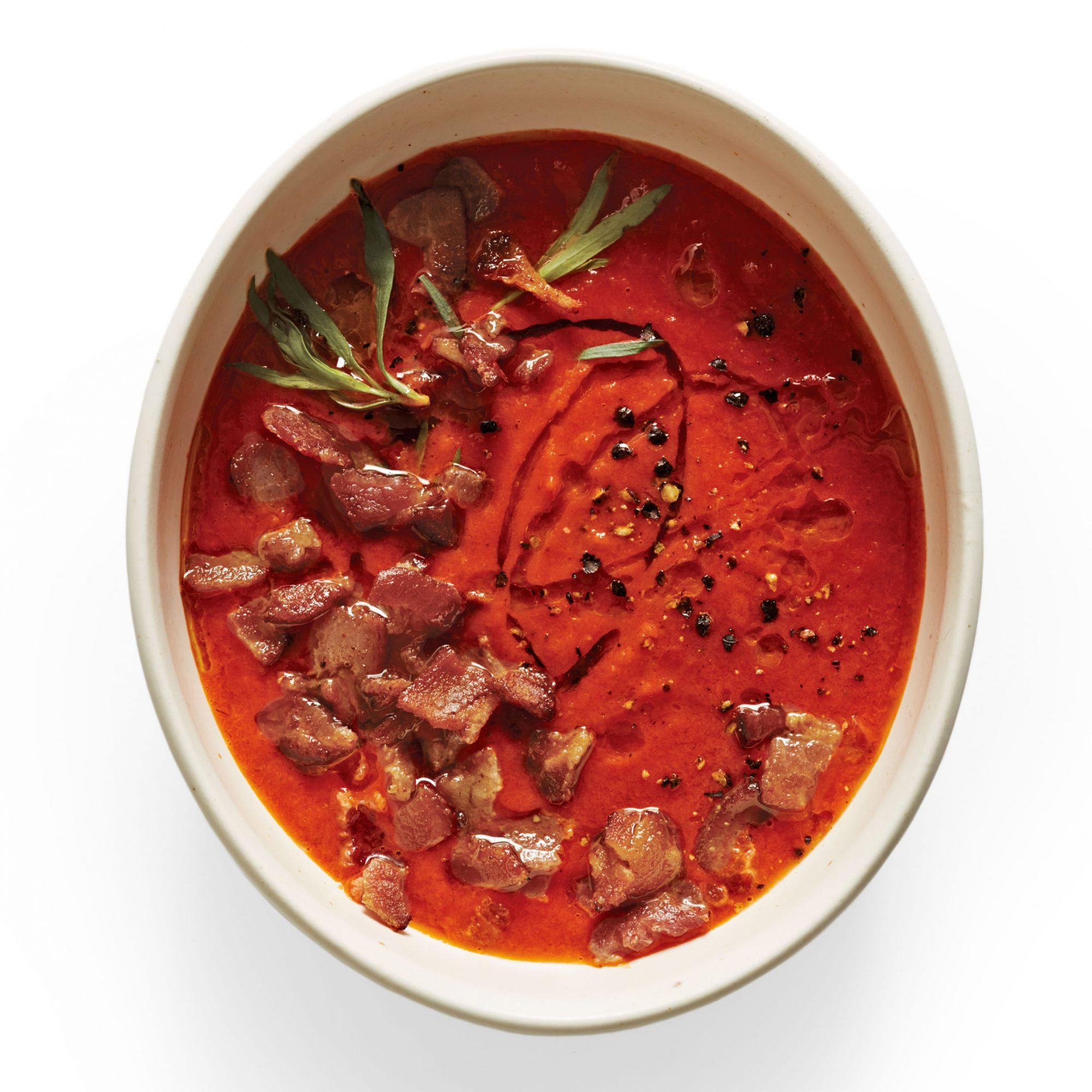 tomato tarragon soup with bacon