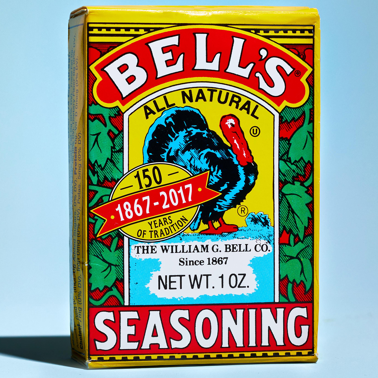 Bell's Seasoning container on blue background