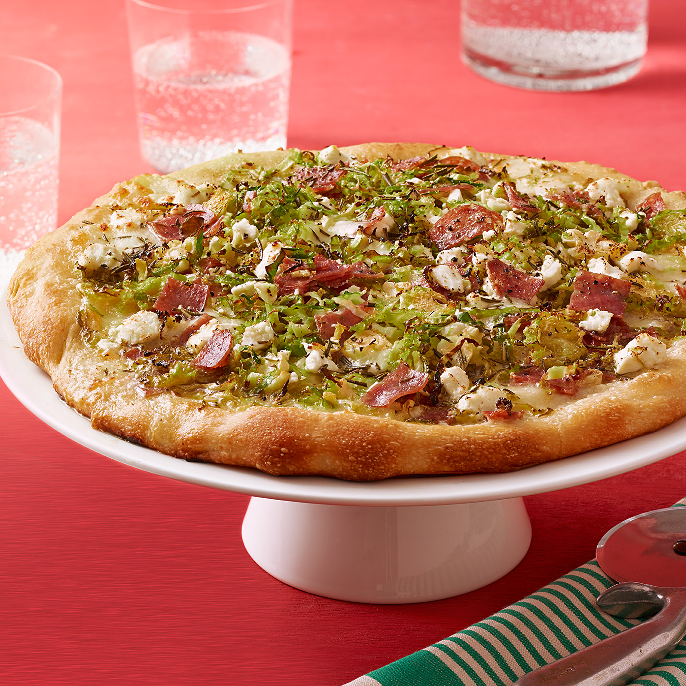 Salami & Brussels Sprouts Pizza