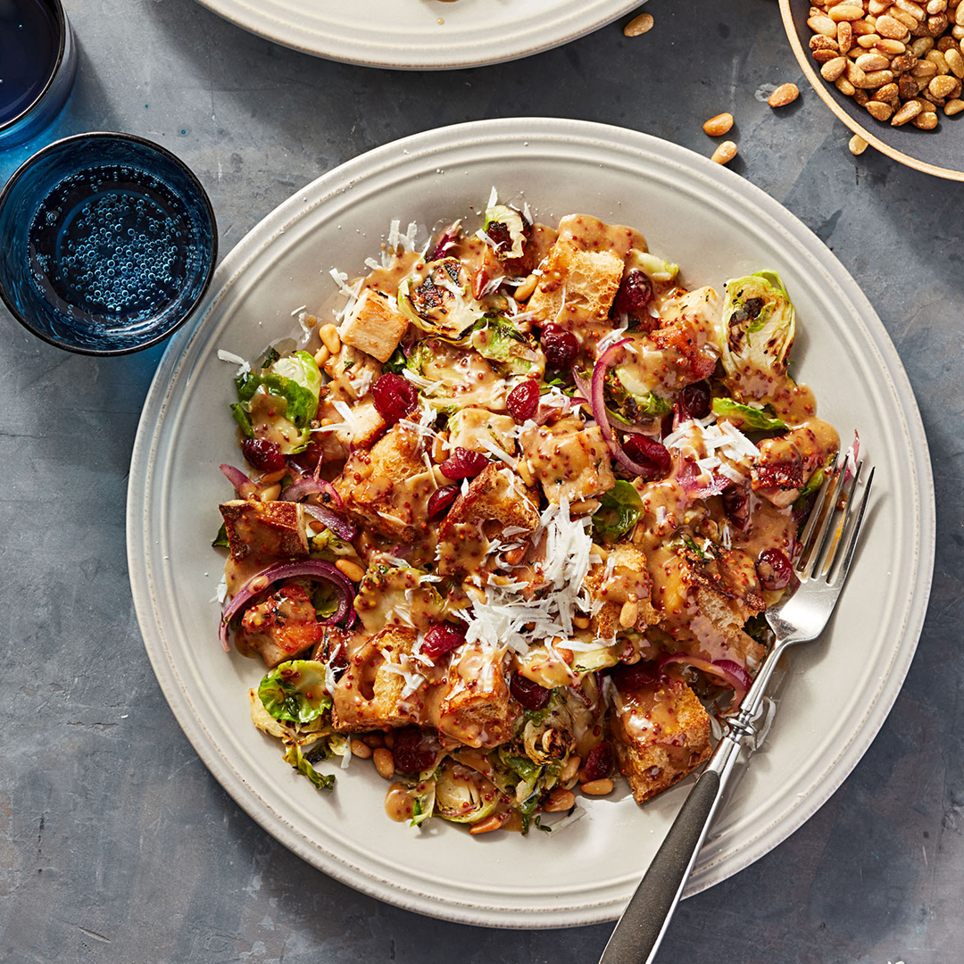 turkey and brussels sprouts panzanella