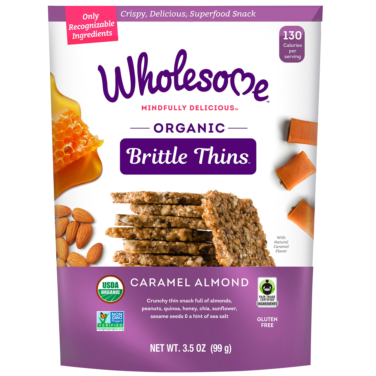wholesome organic brittle thins caramel almond