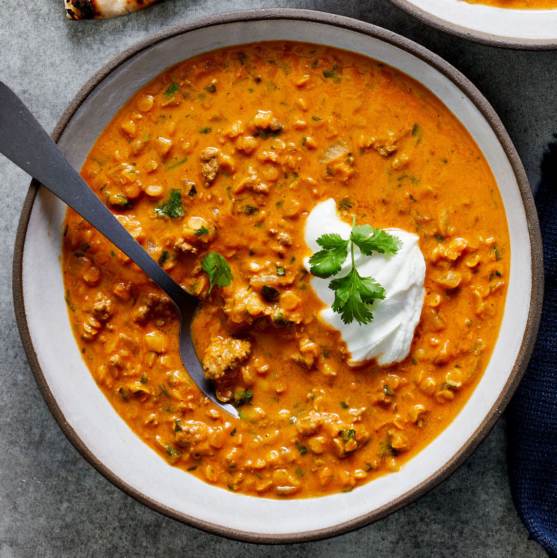 curried beef and red lentil soup