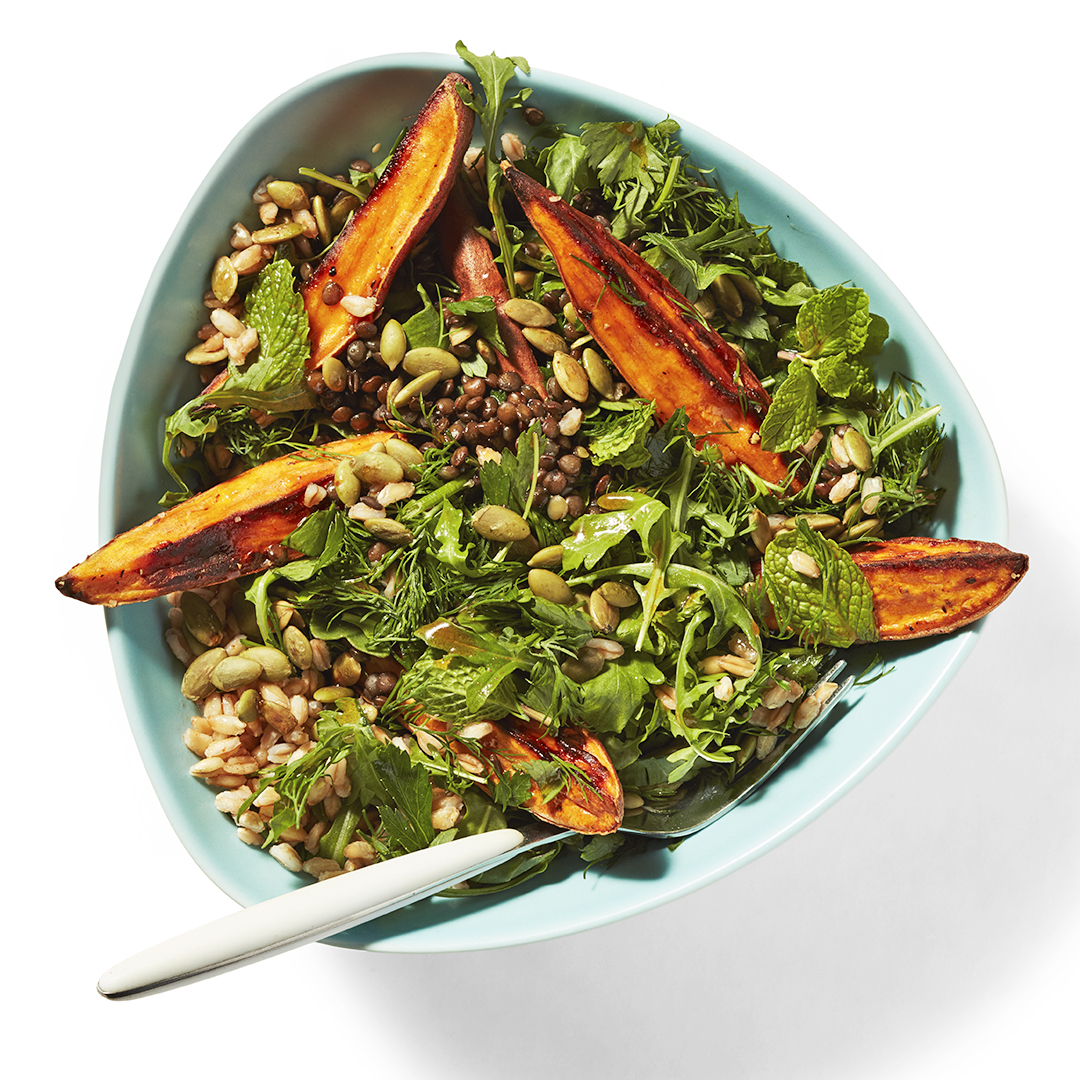 sweet potato & arugula salad with farro & lentils