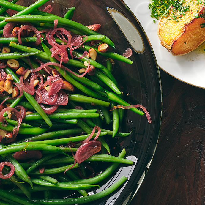Green Beans with Quick-Pickled Shallots and Smoked Almonds