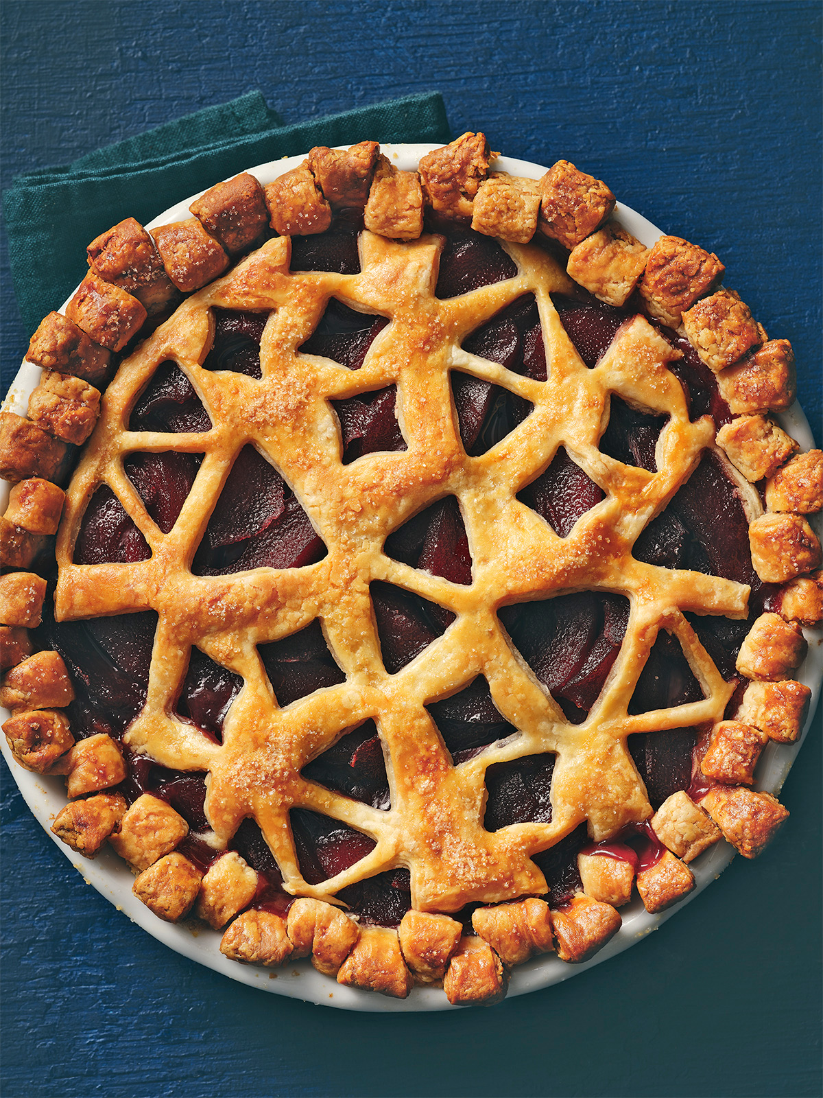 red wine poached pear pie