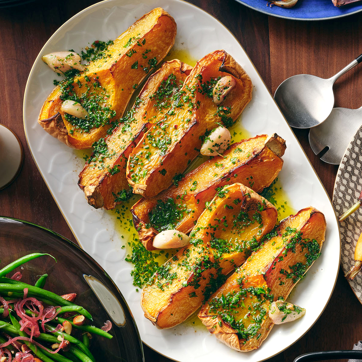 Roasted Squash with Garlic Confit and Herb Oil