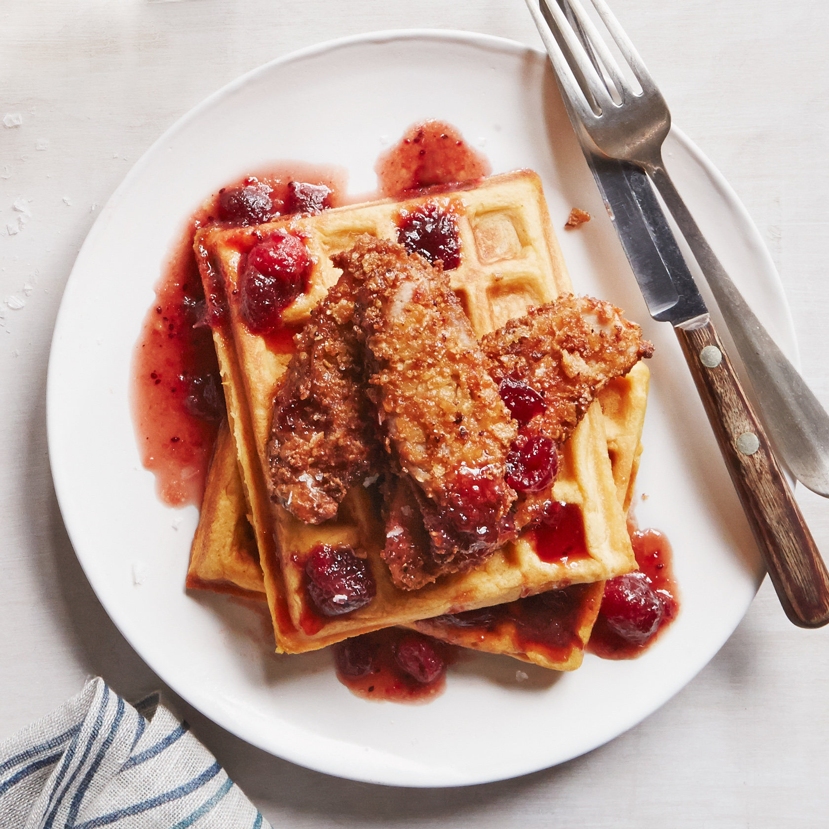 Sweet Potato Waffles with Turkey and Spicy Maple Syrup