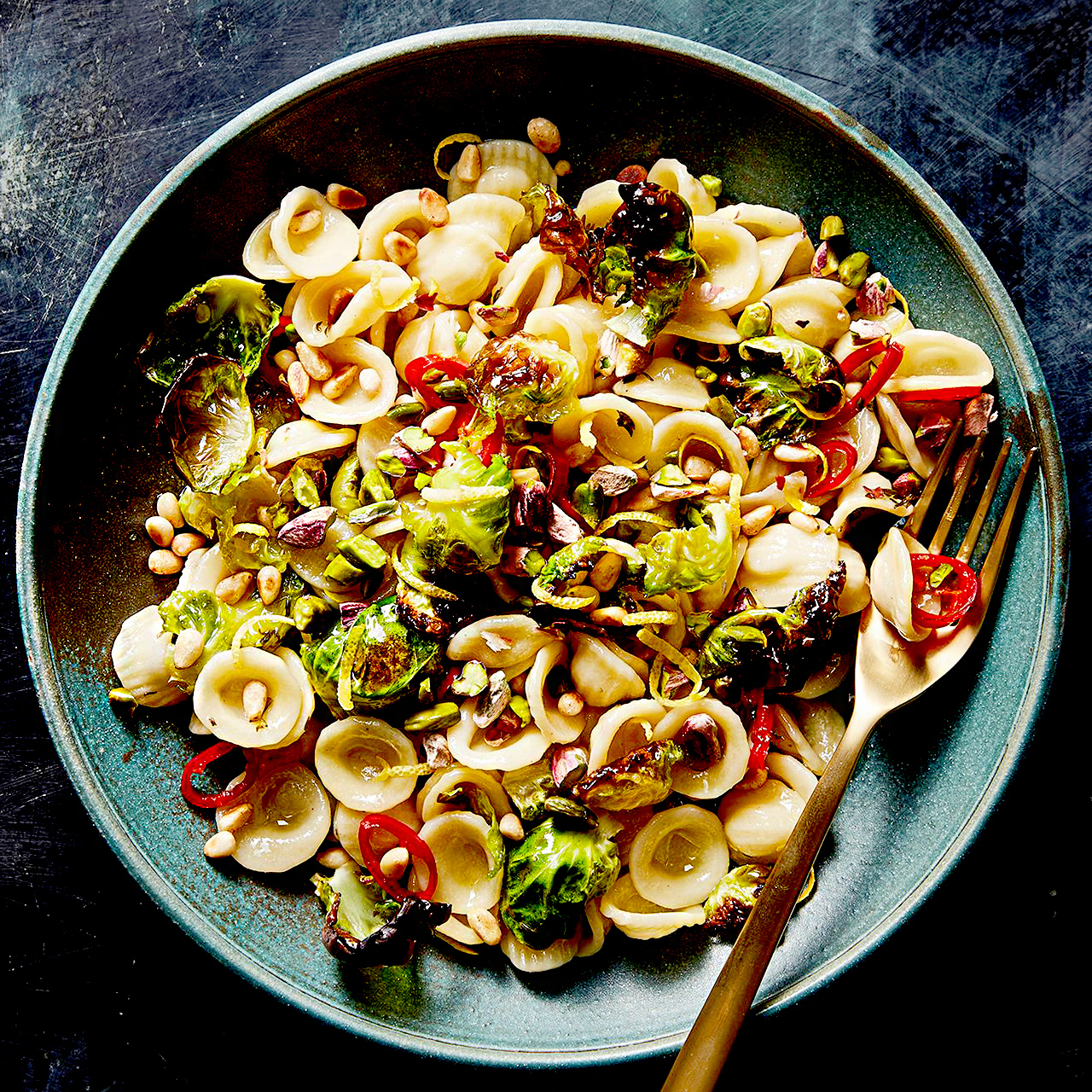 Orecchiette with Charred Brussels Sprouts
