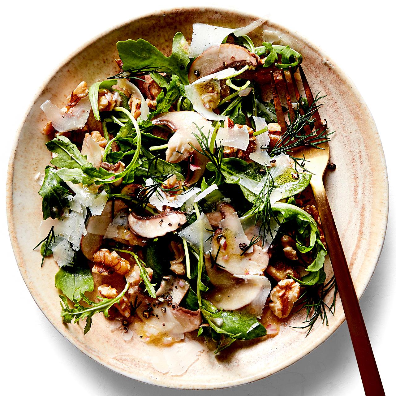 Shaved Mushroom Salad with Arugula & Walnuts