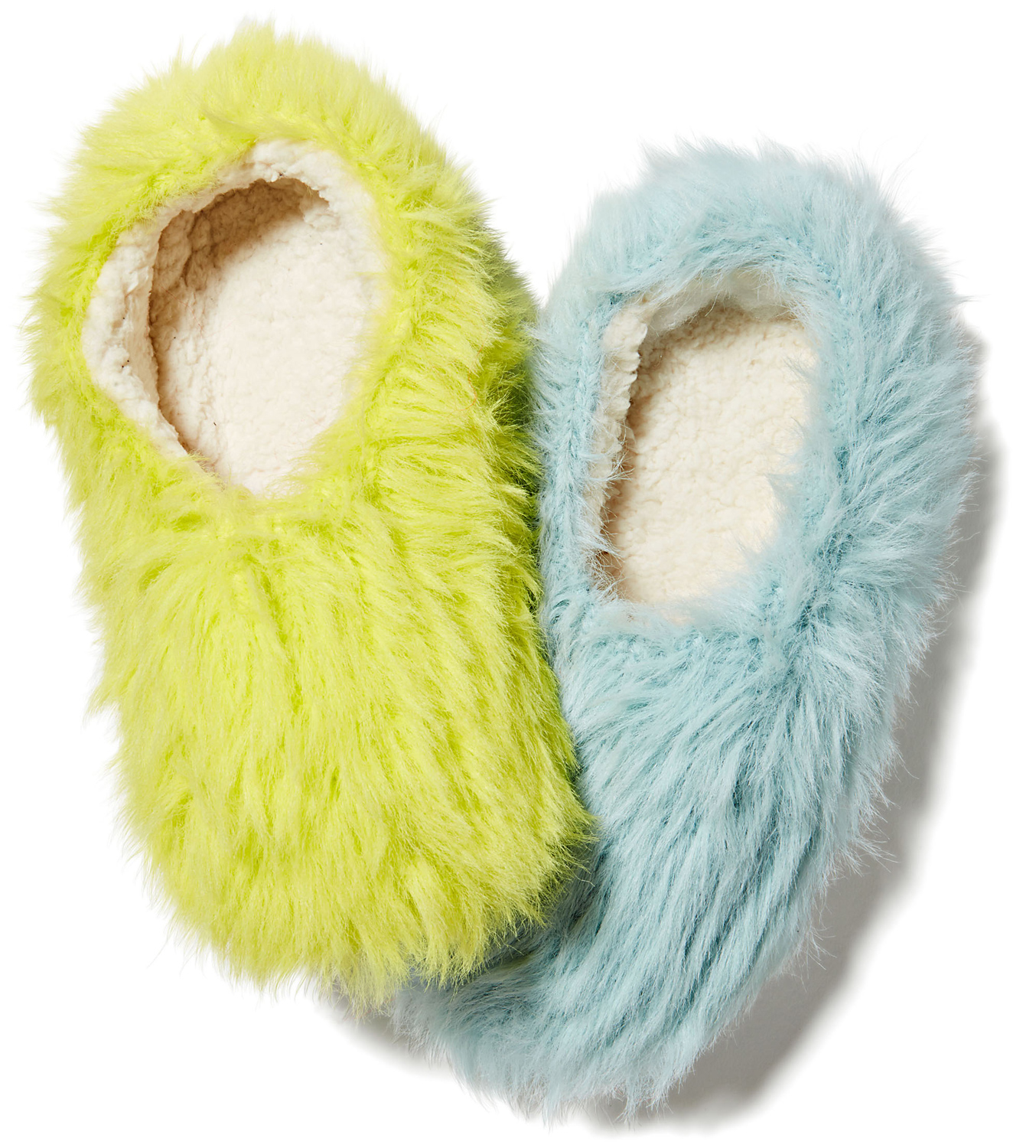 Verloop Fuzzy Faux Fur Slippers green and blue