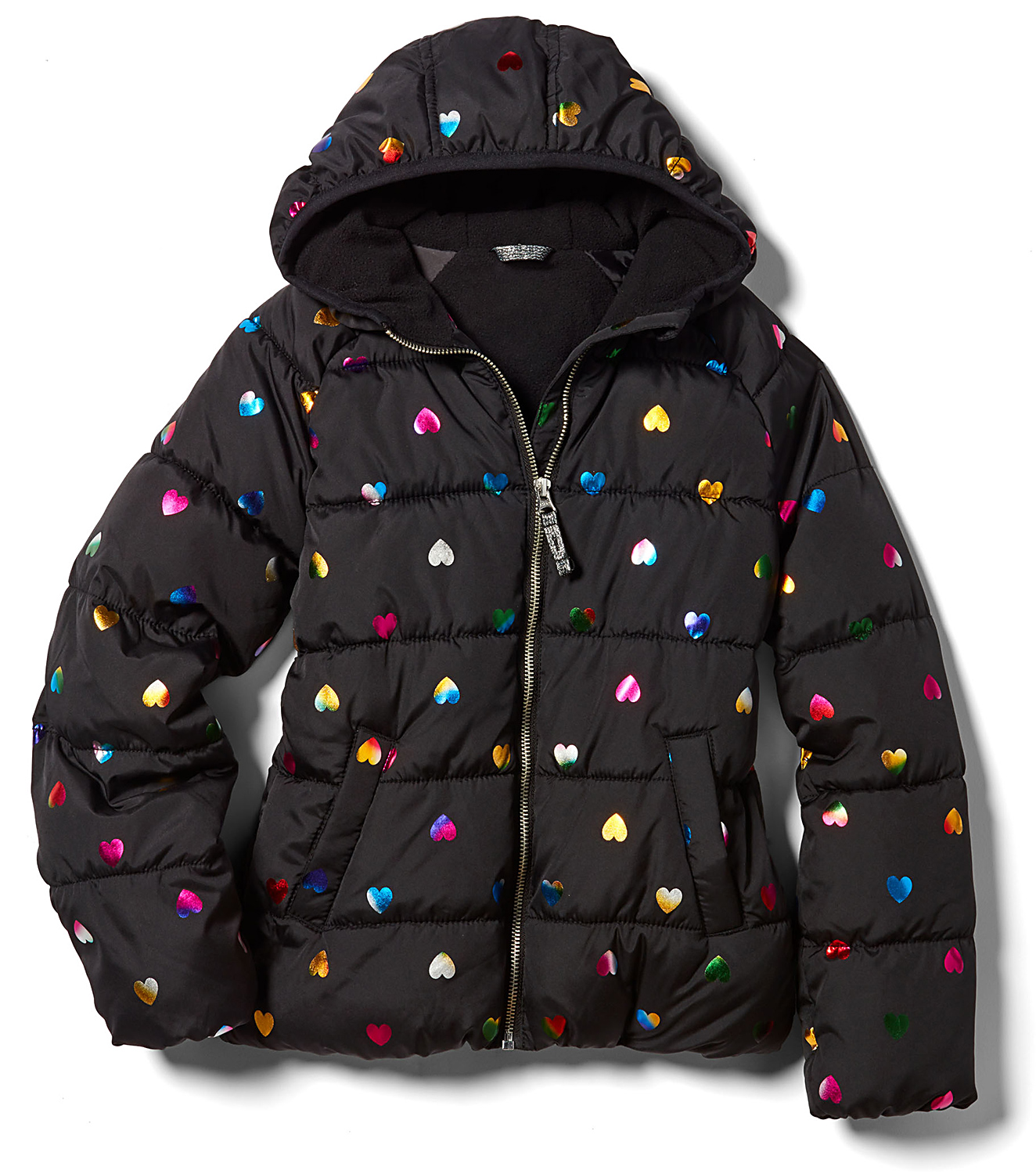 black Hooded Frost-Free Puffer Jacket with hearts