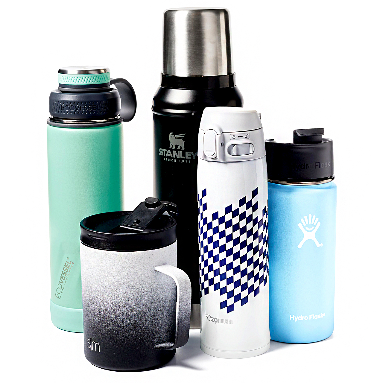 Collection of travel mugs