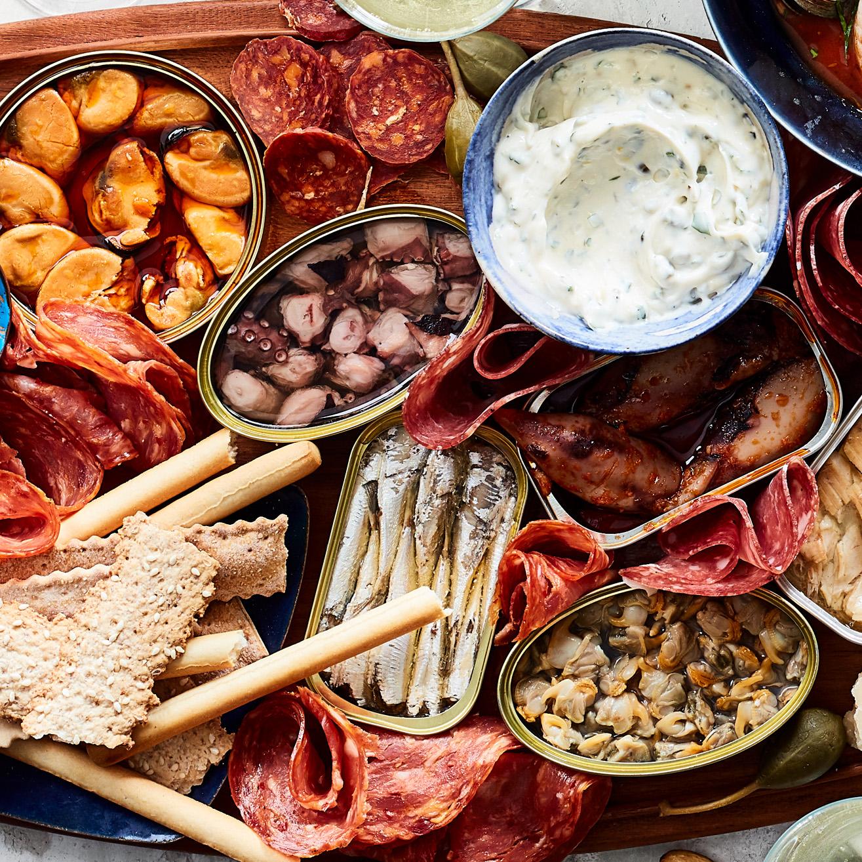 Tinned-Seafood Platter with Garlic Mayo