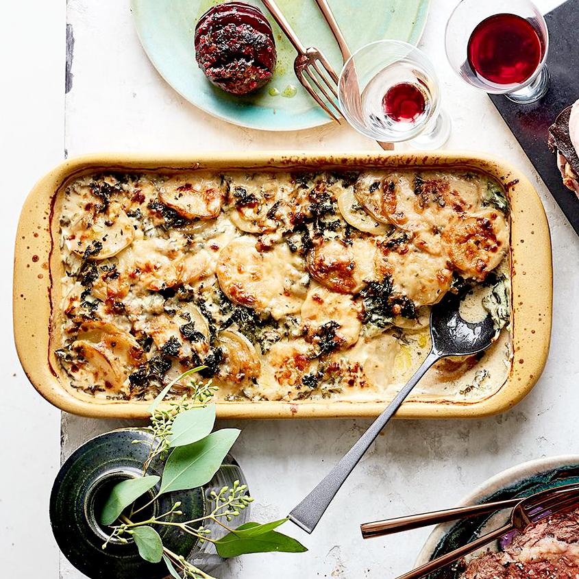 Cheesy Kale & Potato Gratin