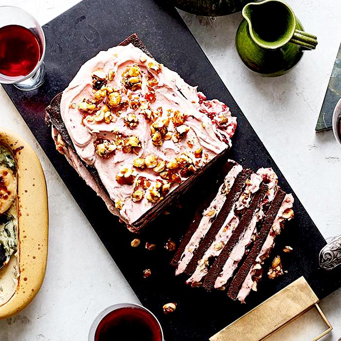 Chocolate-Raspberry Layer Cake with Hazelnut Crunch