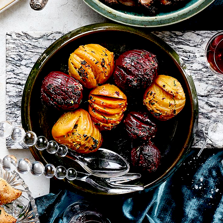 Hasselback Beets with Shallot & Orange Butter
