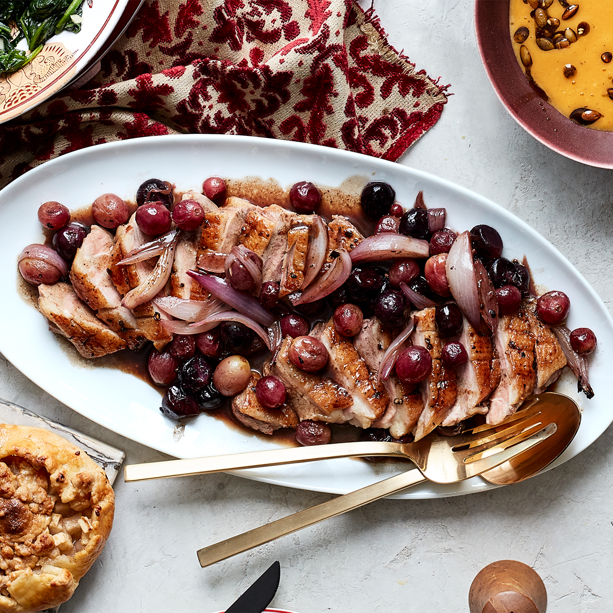 Duck Breasts with Roasted Grapes & Shallots