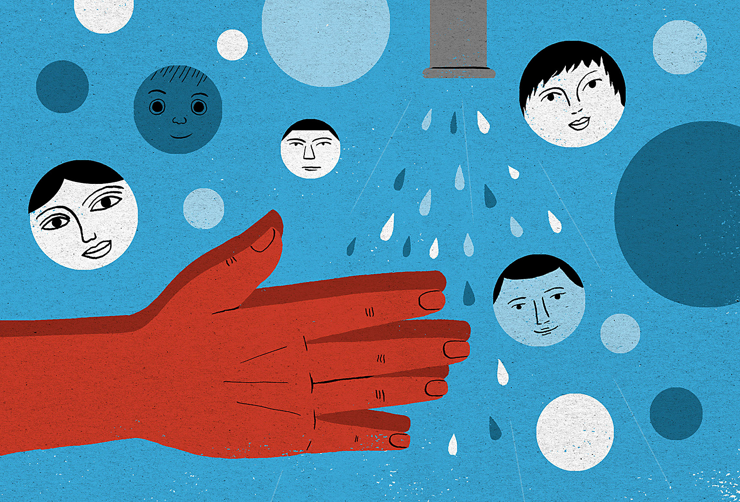 illustration washing hands family faces as bubbles
