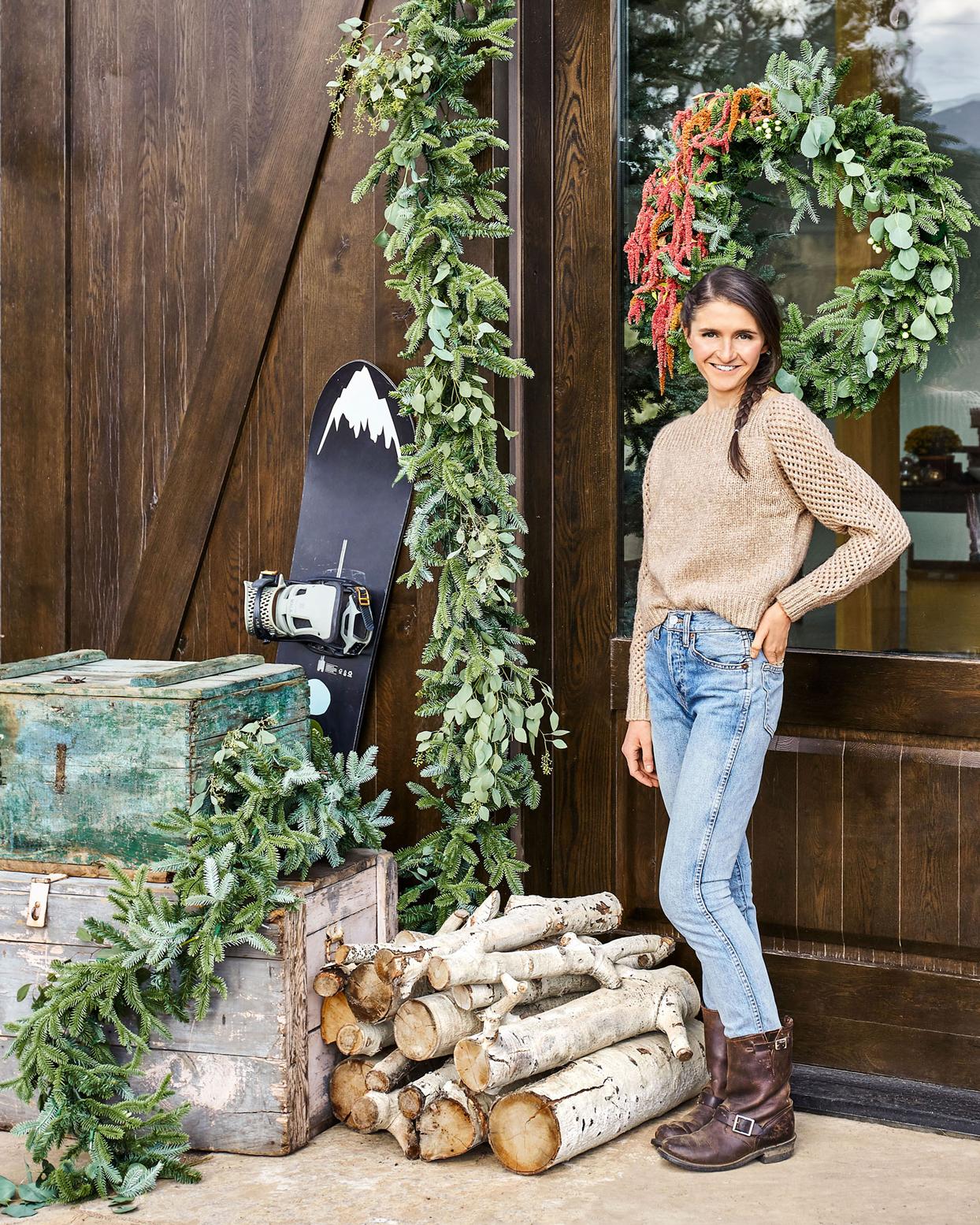 tieghan gerard posing with festive front door