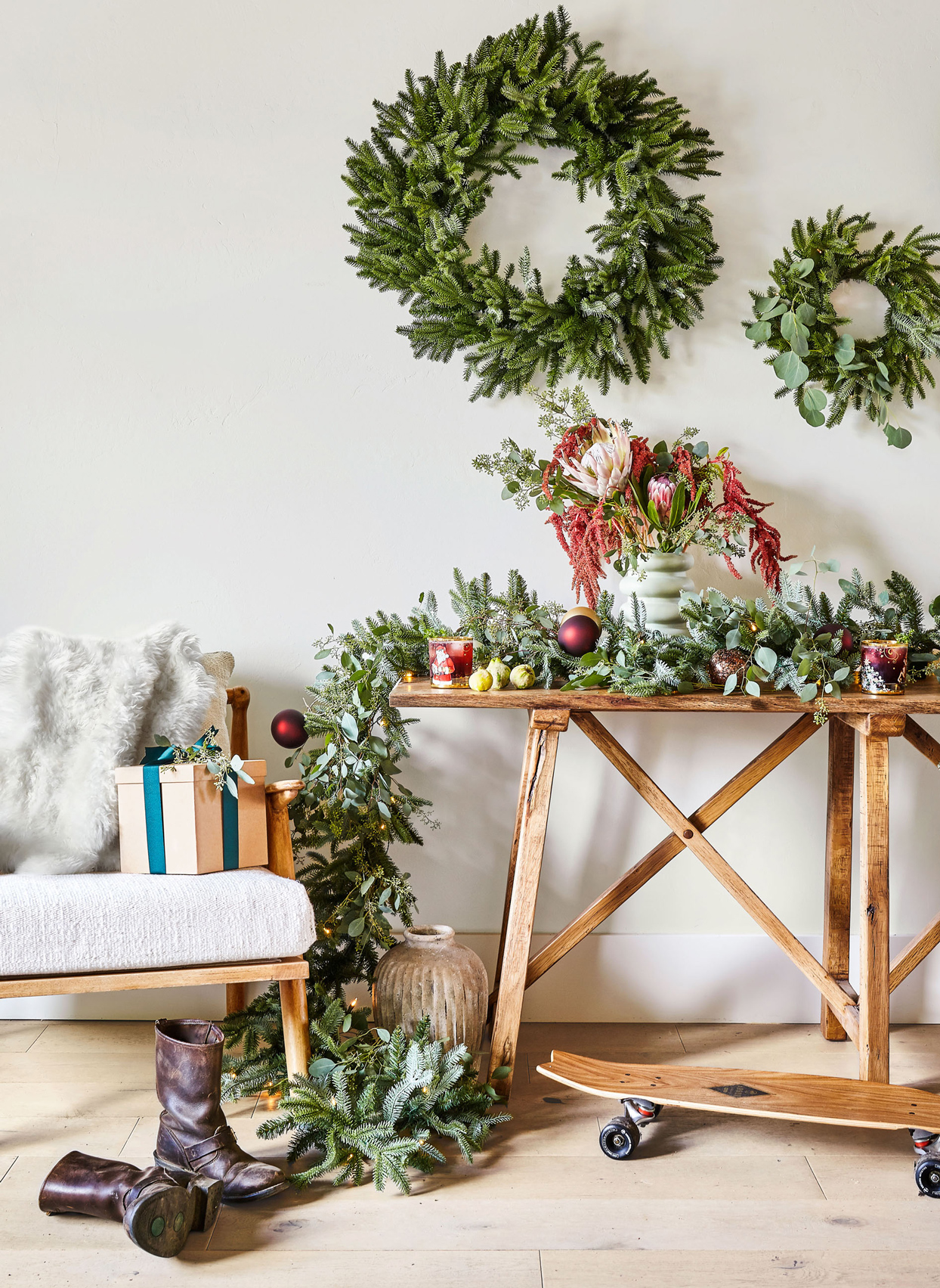 wreaths and garland with eucalyptus
