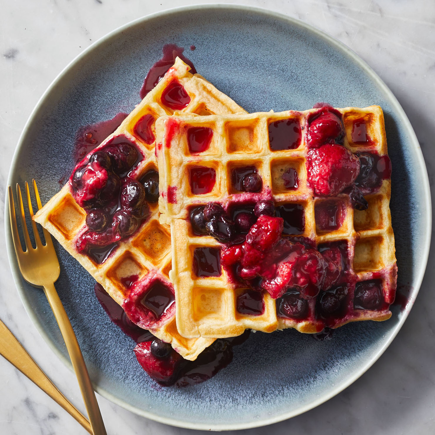 overnight waffles with mixed-berry compote