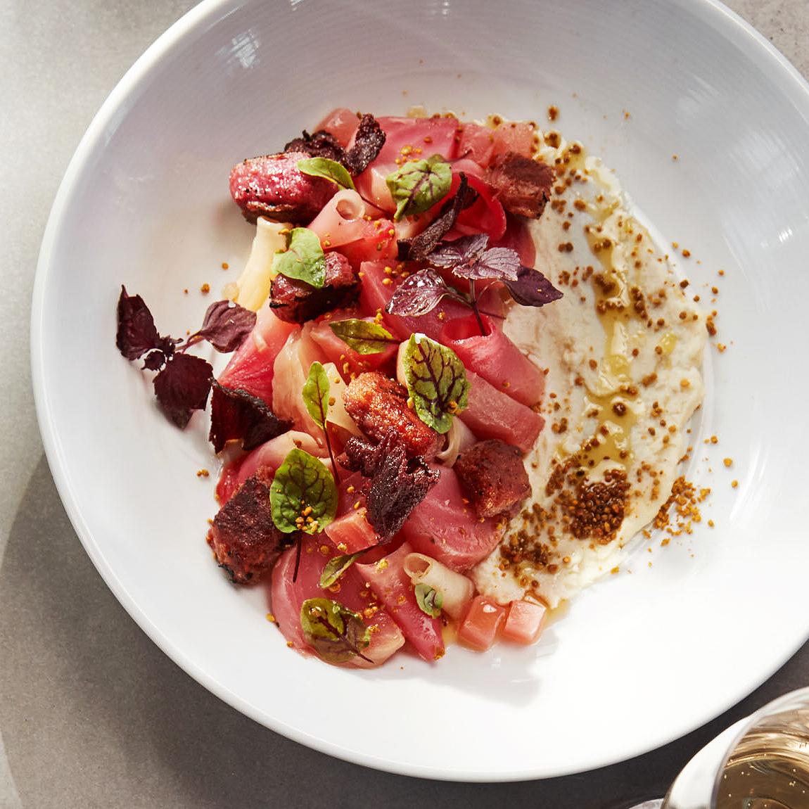 roasted beet salad with parmesan mousse