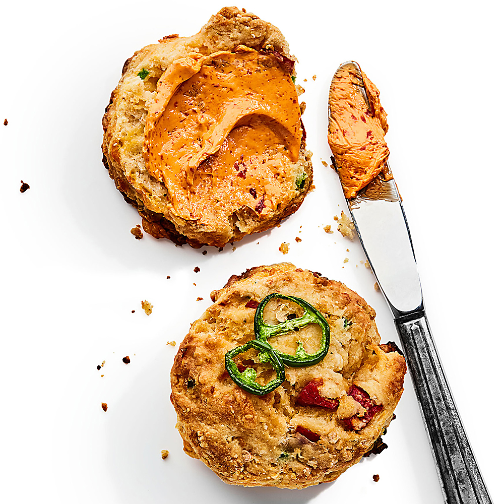 Jalapeño-Cheddar Biscuit with Roasted Red Pepper Butter