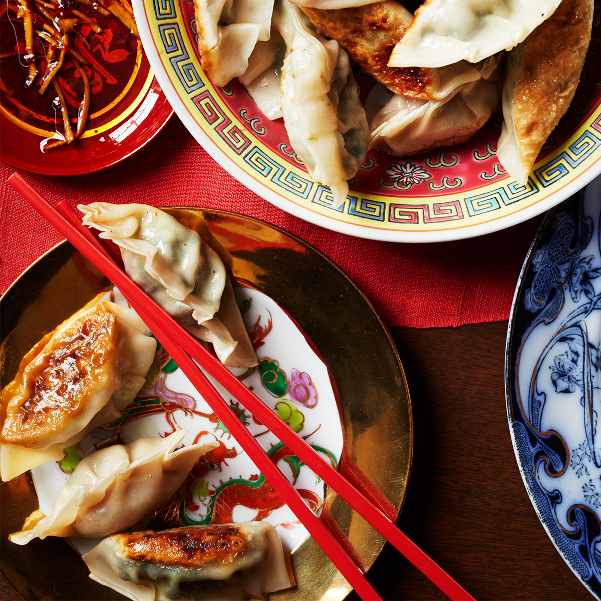 chinese dumpling with pork and scallion filling