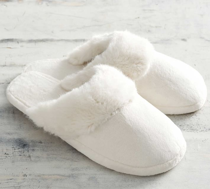 Ivory Alpaca Faux Fur Slippers from Pottery Barn