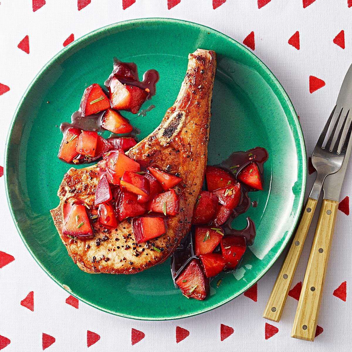 Pork Chops with Warm Plum Chutney