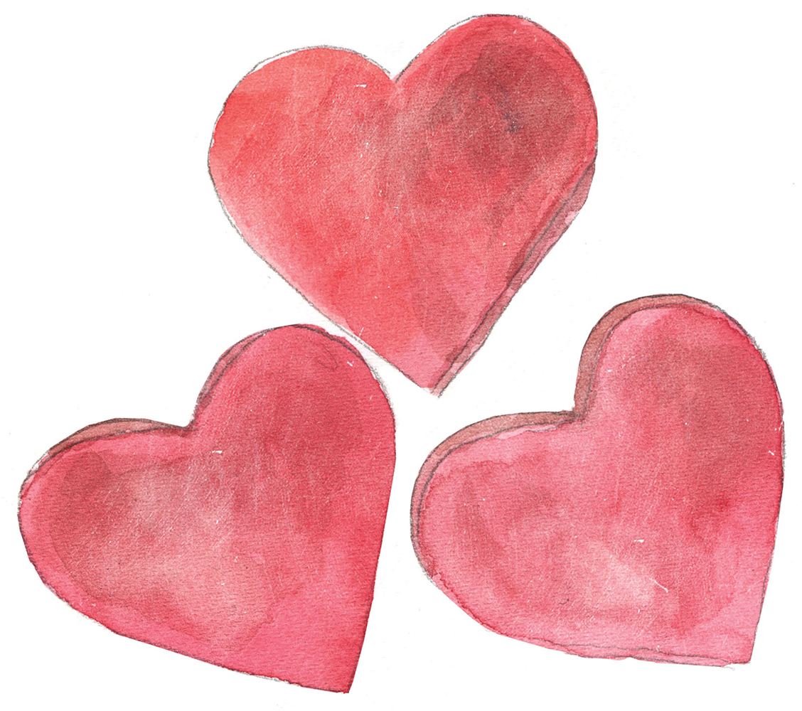 Three Illustrated red hearts