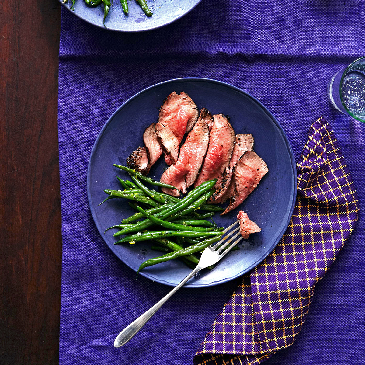 coffee rubbed tri-tip with gremolata green beans