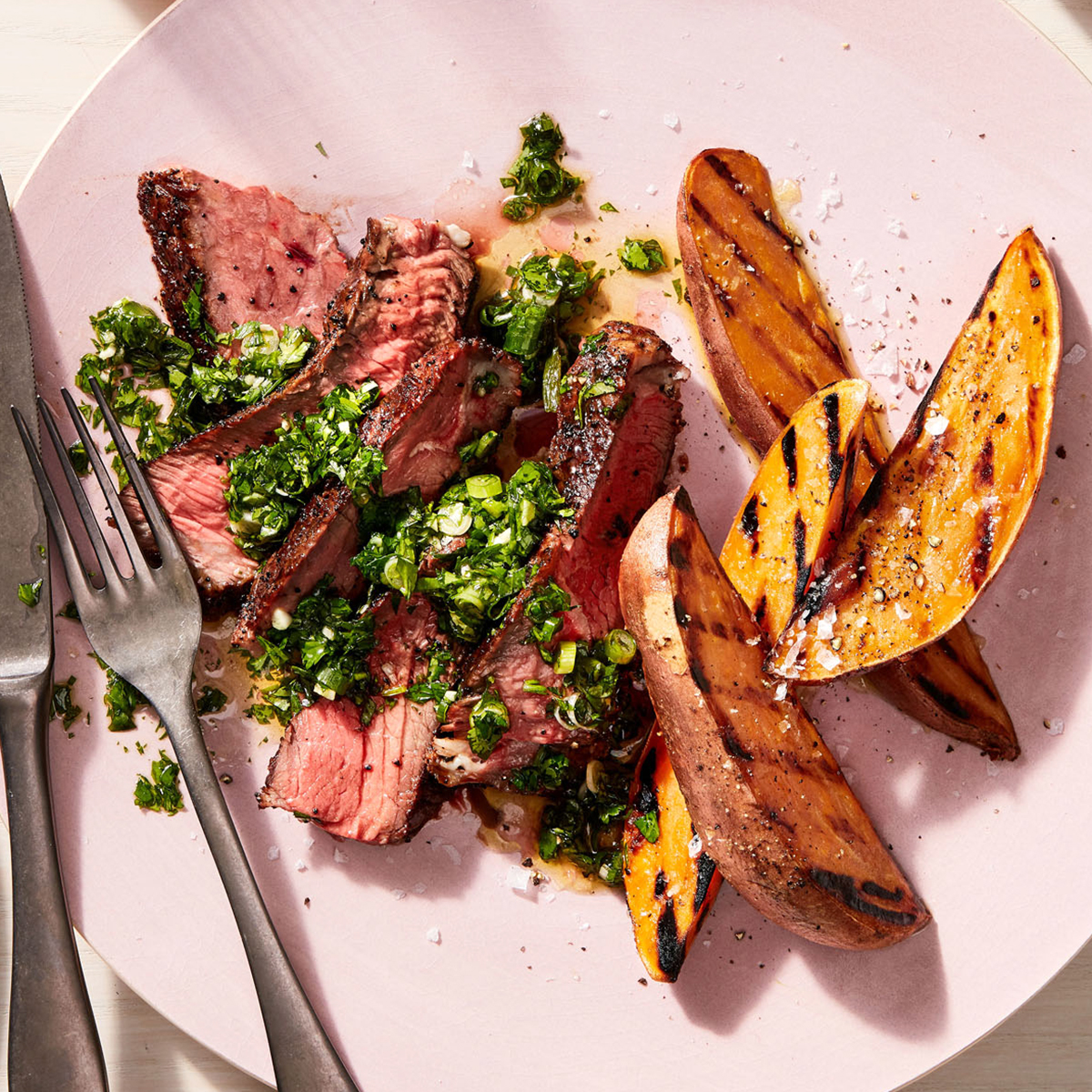 Grilled Steak & Sweet Potatoes with Herby Sauce