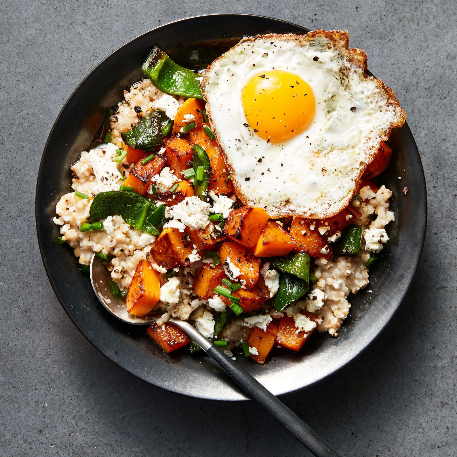 oatmeal with poblanos, butternut squash, and goat cheese