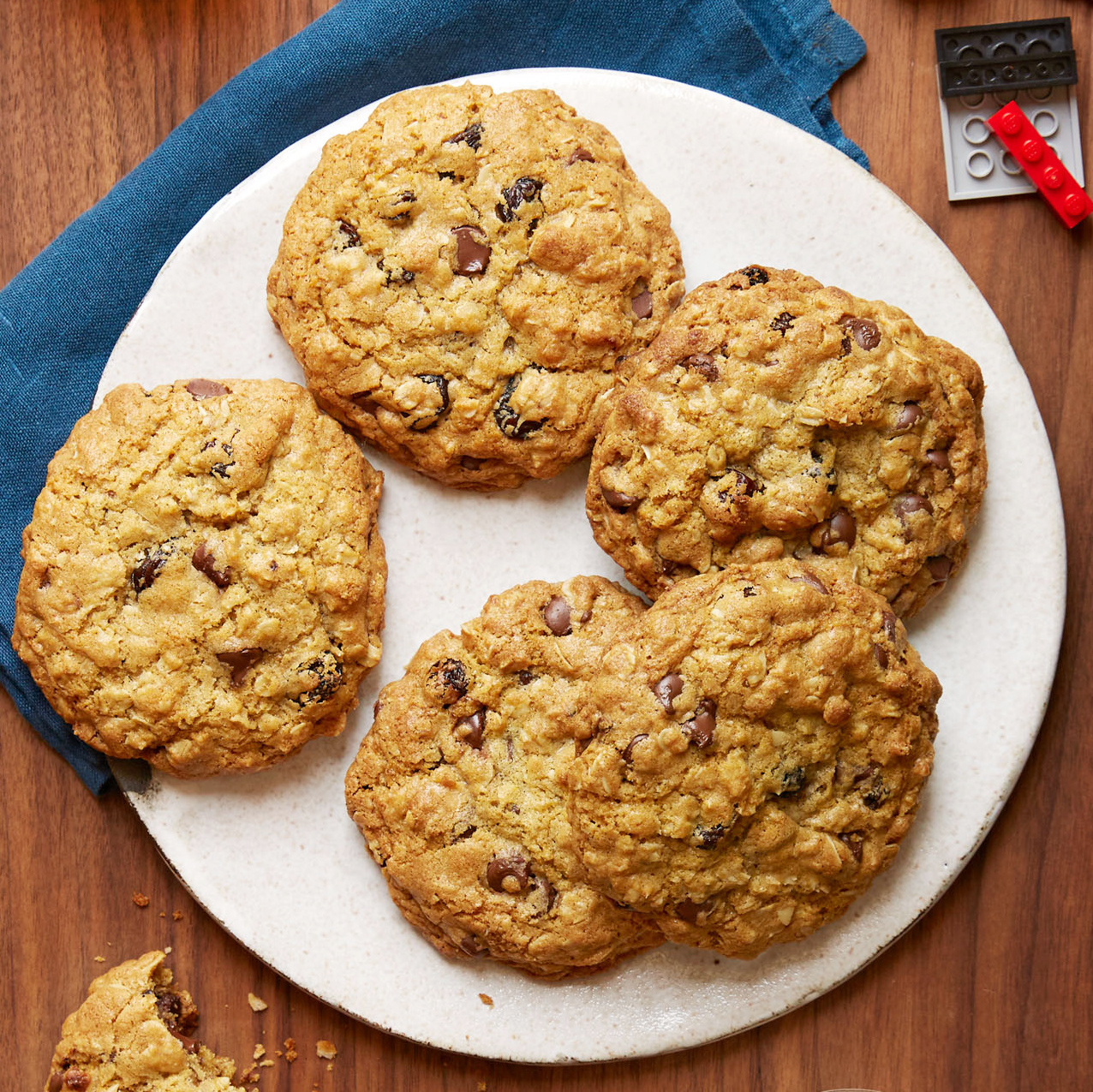 Thick, Chewy Oatmeal Raisin Chocolate Chip Cookies