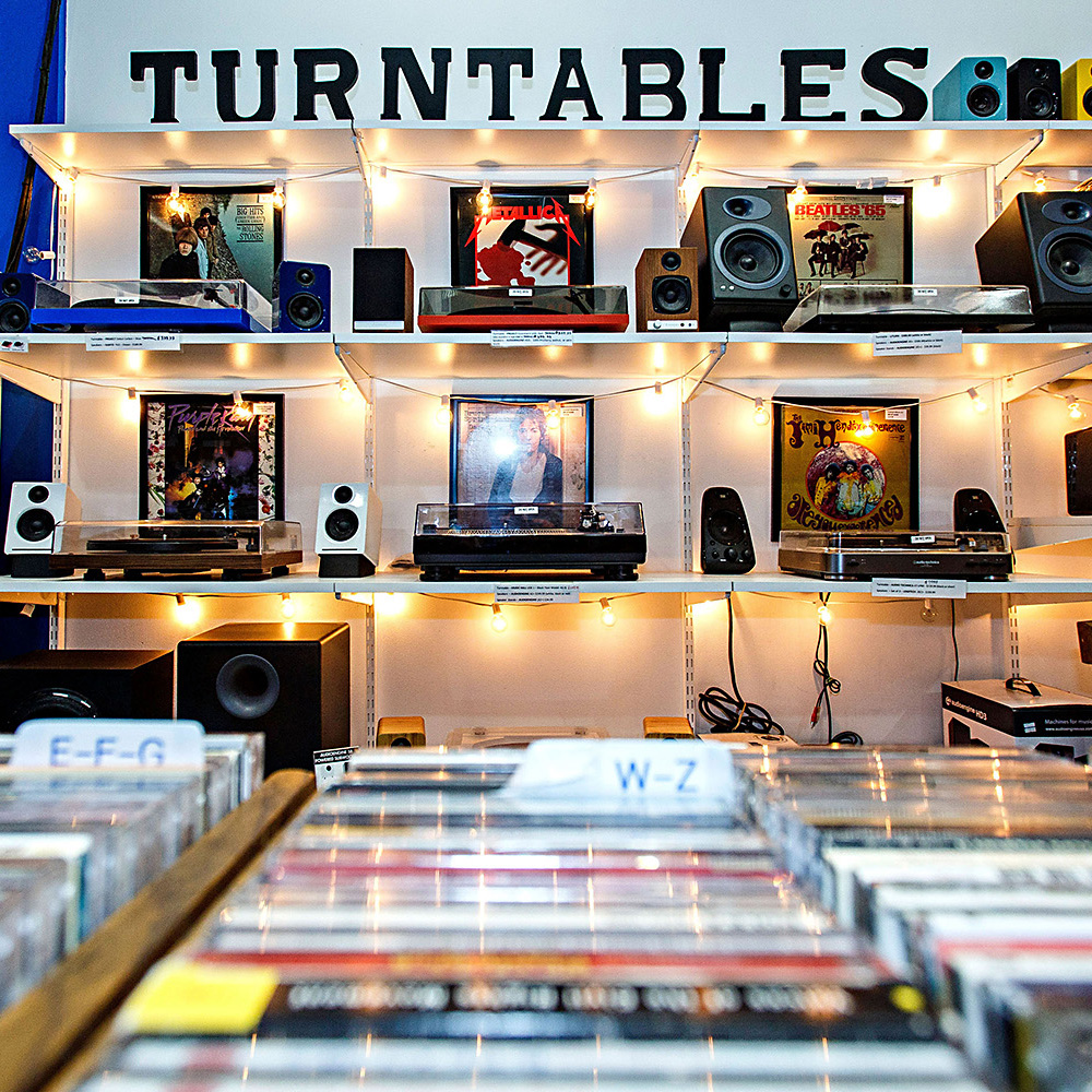 turntables section in Waterloo Records store