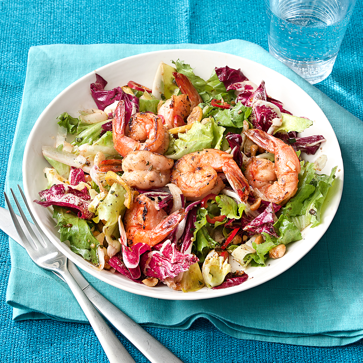 tri-color salad hazelnuts sauteed shrimp
