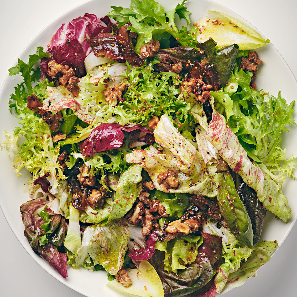 Chicory Salad with Dates and Candied Pink Peppercorn Walnuts