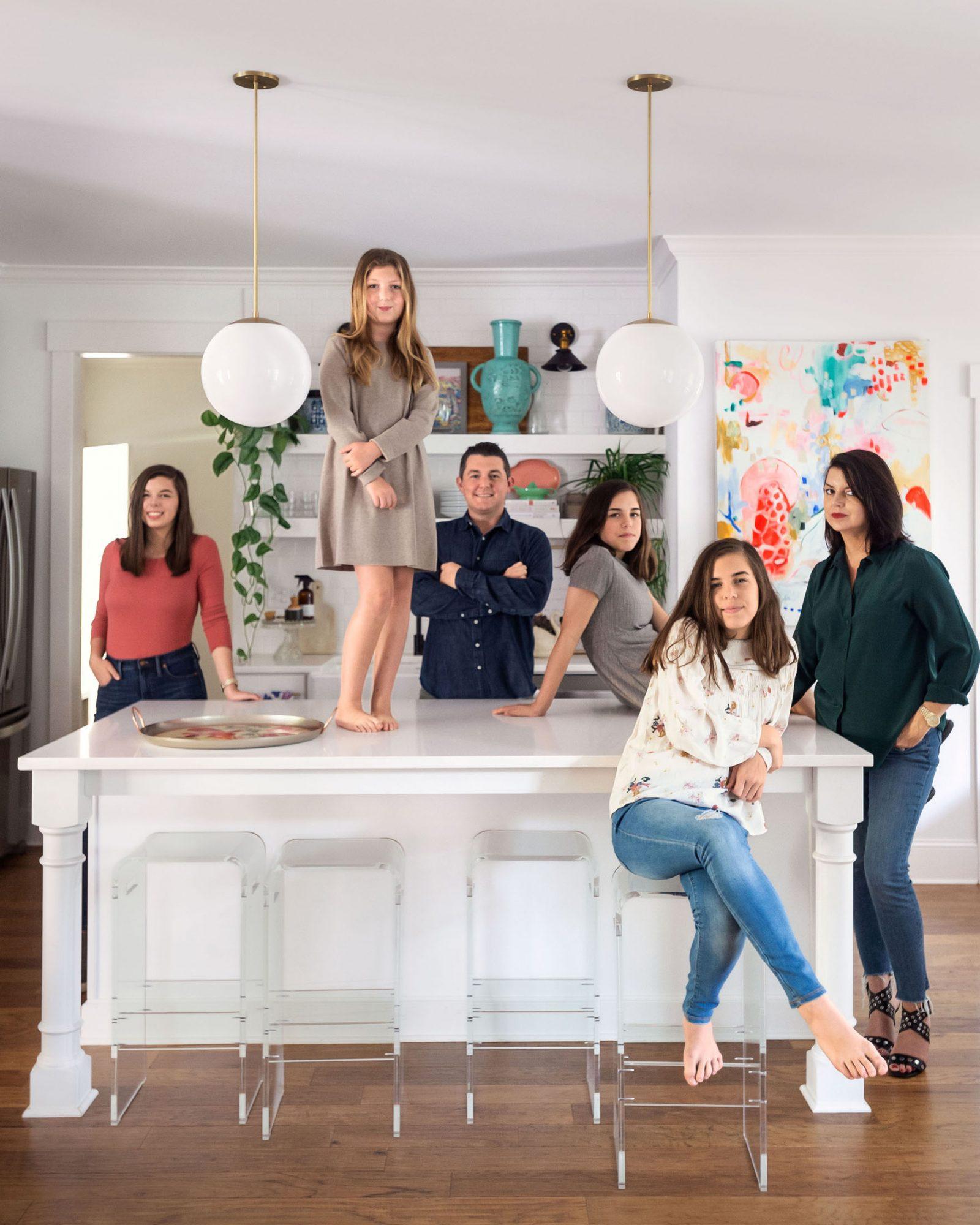 family portrait in white kitchen